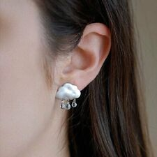 1 Pair Women Elegant Crystal White Cloud Dangle Ear Stud Earrings Gift Jewelry