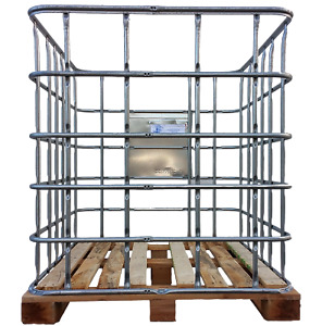 IBC Gitterbox mit Holzpalette