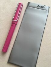 NEW LAMY SAFARI PINK CT ROLLERBALL PEN-LAMY POUCH-BLUE INK