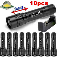 50000LM Zoomable Flashlight Durable Focus 3Modes T6 LED 18650 Torch Lamp-Charger