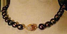 GORGEOUS! VINTAGE TAHITION BIG 9MM COPPER PEACOCK BAROQUE PEARL NECKLACE L@@k