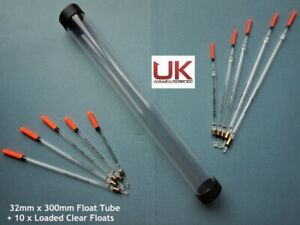 UK Angling Supplies 32mm Float Tube + 10 Loaded Clear Floats