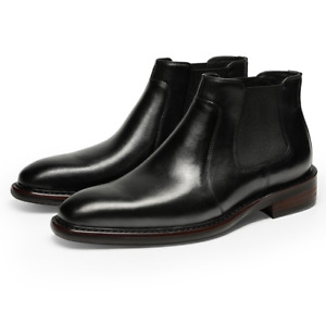 Mens Real Leather Chelsea Boots Shoes Pull on Square Toe Business Office Casual