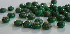 36 Vintage Glass Millefiori 8mm Round Green Dome Top Flat Back Japanese G1-1