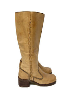 Vintage Women's Leather Boots 7.5-B Brazil Light Brown Camel 70s Throwback HOBO
