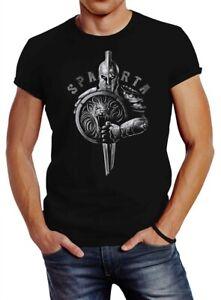 Neverless® Herren T-Shirt Aufdruck Sparta Spartaner-helm Krieger Warrior