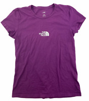 The North Face Tee Shirt Womens Size L Crew Neck Purple Short Sleeve Big Logo