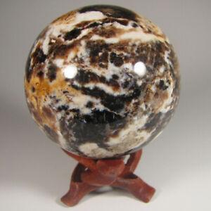 """2.7"""" BLACK OPAL Gemstone Sphere Ball w/ Stand - Madagascar - 69mm"""