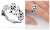 Sterling Silver 925 PRETTY HAWAIIAN 3PLUMERIA FLOWER DESIGN RING 12MM SIZES 3-14