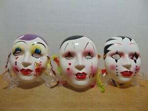Wall Art Face Masks Mardi Gras Porcelain c1980s Set of 3