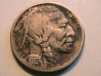 1916-S Buffalo Nickel Very Fine Grey Toned Original Indian Head 5 Cent WWI Coin