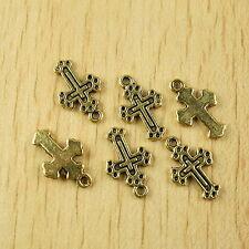 35pcs dark gold-tone cross charms findings h1995