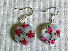 Pink flower shell earings