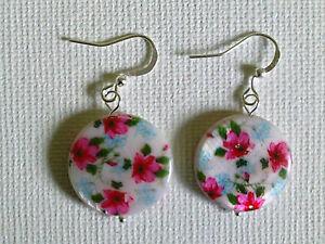 Pink flower shell earrings