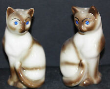 VINTAGE SET OF SIAMESE CATS W/RHINESTONES SALT AND PEPPER SHAKERS 5576O