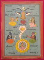 Hand Painted Tantra Mythology Fine Rare Miniature Art Work Old Paper Detailed