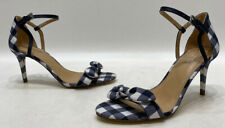 Michael Kors Womens Blue Checker Leather Strap Classic Heels Size 7M GREAT!