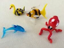 "Art Glass, 4 Figures (approx 1"" each) Ocean Collection by Artist Gayle Weyland"