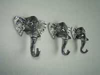 Metal Elephant Trunk Coat Hook Set of 3 Pieces Figurine Hooks statue a/u.