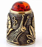 Russian \u0421ollectible brass  thimble Baltic amber pumpkin carriage