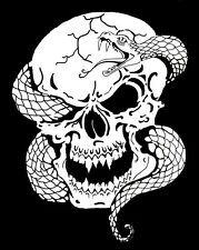 high detail airbrush stencil snake through skull FREE UK POSTAGE