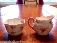 Vintage Shelley Rose Spray Creamer & Sugar Bowl in  the Dainty Shape