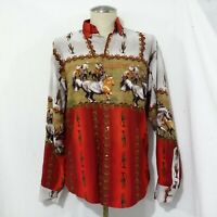 Vohy's Camisas  Red multicolor Blouse with Horse printed  M/L