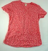 Barco Juniors  Womens Scrub Top Pink Spring Floral Print Size Small