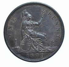 SCARCE 1870 PENNY, BRITISH COIN FROM VICTORIA UNC