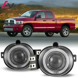 For Dodge RAM 02-09 Clear Lens Pair Bumper Fog Light Lamp Halo Projector DOT
