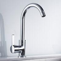 Évier cuisine robinets pivotant bec simple levier lavabo mitigeur chrome laiton