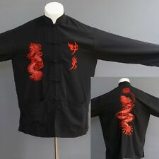 MiMi Men's Black Asian Tunic Jacket Top Tai Chi Martial Arts Embroidery Dragon M