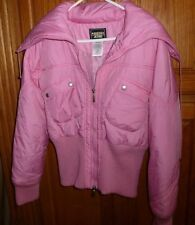 PINK GUESS JEANS WINTER JACKET HIGH STRETCH WAIST & LARGE COLLAR SZ LARGE