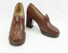Vintage 1970s Brown Real Leather Platforms Court Shoes High Heels 1960s 3.5UK 36