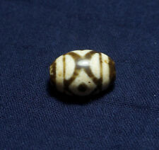 Old Tibetan Agate Dzi Bead '3 Eyes' Daluo Bead Blessed By Eminent Lama
