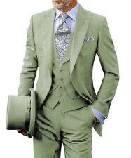 Formal 3Piece Mens Suits Tuxedo Notch Lapel Grooms Retro Blazer+Vest+Pants Slim+
