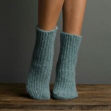 Lemon Ladies Chenille Fuzz Rib Boyfriend Boot Socks Lead Dusty Blue - NEW