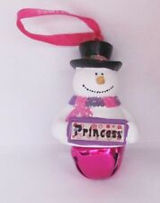 25311 PRINCESS NAME FROSTY SNOWMAN COLOUR BELL CHRISTMAS TREE DECORATION