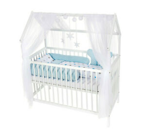 Babybett Haus Kinderbett 120x60 Inkl. Matratze Minky Bettset BIGSTERNE BLAU