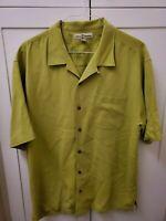 Mens Tommy Bahama Plain Light Gree  100% Silk Green Hawaiian Shirt Size XL