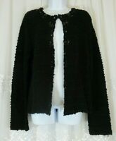 Womens Chico's XL Cardigan Black Sweater 3 Embellished Beaded Open Knit EUC
