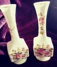 Royal Tara pair of fine bone china bud vase with rose. Made in Galway, Ireland