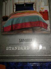 ANTHOLOGY SAMARA STANDARD SHAMS 2 BLUES PINK STITCH COTTON MACHINE WASH NEW