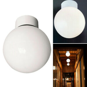 100w Bathroom Ceiling Globe Light Fitting White with Opal Shade New Uk