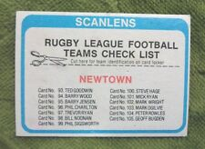 1979  NEWTOWN JETS  SCANLENS RUGBY LEAGUE CHECKLIST CARD - UNMARKED