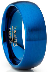 Men's Blue Tungsten Carbide Wedding Band Ring Dome 8MM Brushed Comfort-Fit High
