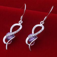 925 Silver Plated Looped Around Amethyst Drop Dangle Earrings  Ladies Gift