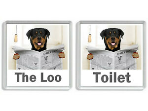 ROTTWEILER READING A NEWSPAPER ON THE LOO Novelty Toilet Door Signs