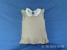 Girls 7 Years - Beige with White Spots Cap Sleeve Summer Tunic Top