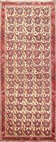 IVORY Geometric Tribal Hand-knotted All-Over Runner Rug Staircase Oriental 3x7